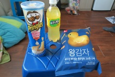 Sweet mayo cheese Pringles: Sarah says yes! Sunny 10 pineapple drink- another yes. King potato chips- nooo thanks.